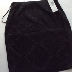NWT Ellen Tracy Fine Beaded Black Pencil Skirt